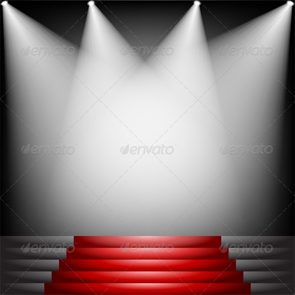 Red Carpet and Stairs with Spotlight - Buildings Objects