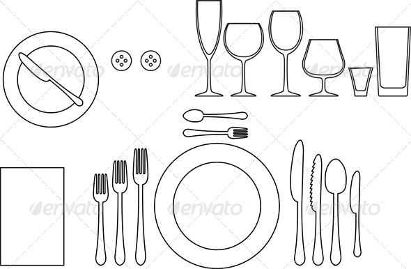 Outline Silhouette of Tableware - Food Objects