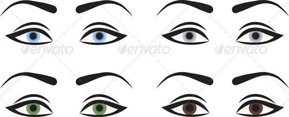 Woman Eyes with Different Colors - People Characters