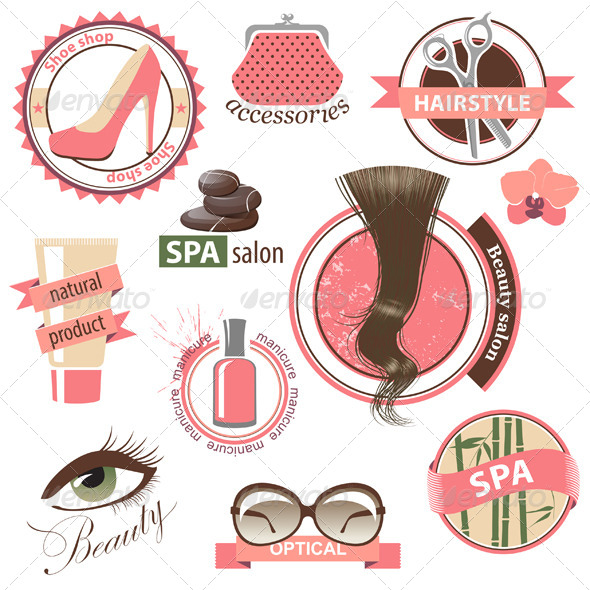 Beauty and Fashion Emblems - Objects Vectors