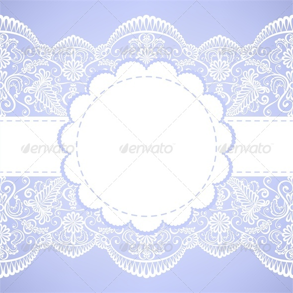 Wedding Invitation with Lace Border - Backgrounds Decorative
