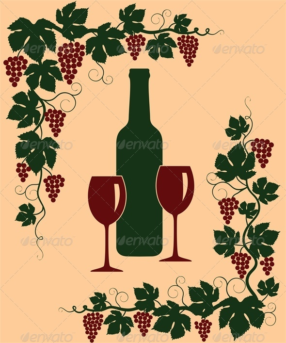 Background with Grapes, Glasses and Bottle - Food Objects