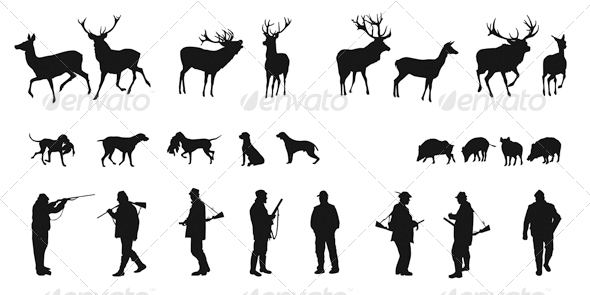 Set of Silhouettes of Hunters Dogs and Wildlife - Characters Vectors