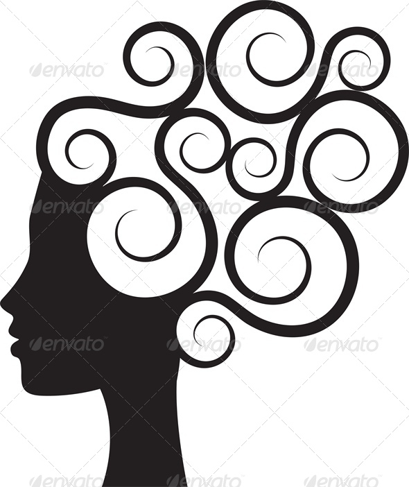 Silhouette of Woman's Profile with Curly Hair - People Characters
