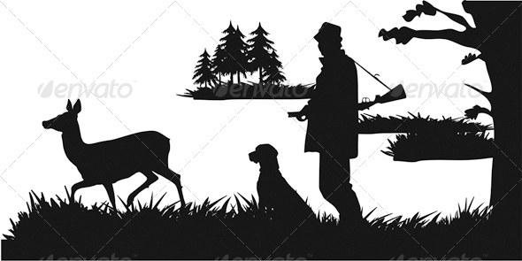 The Hunter with a Dog Lying in Wait for Deer - Characters Vectors