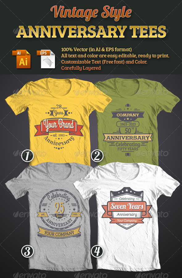 Vintage Style Anniversary Tees Bundle - T-Shirts