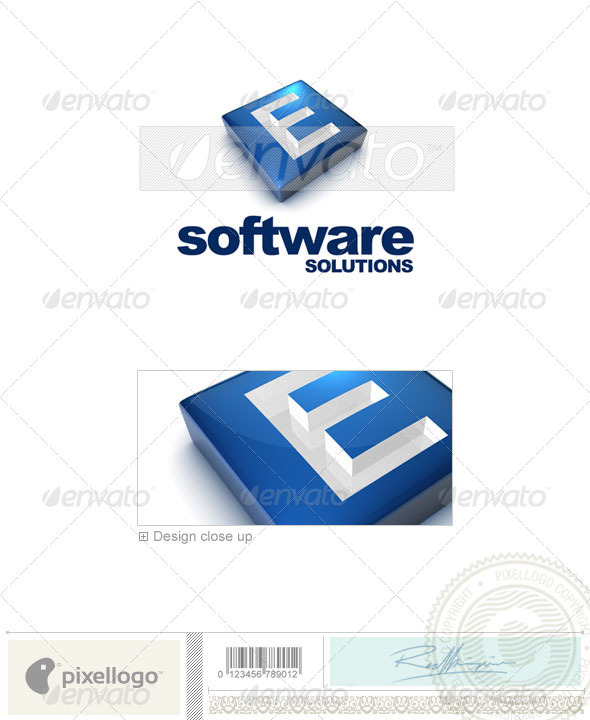 E Logo - 3D-644-E - Letters Logo Templates