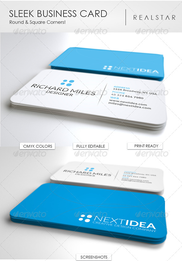 Sleek business card by realstar graphicriver sleek business card corporate business cards solutioingenieria Choice Image