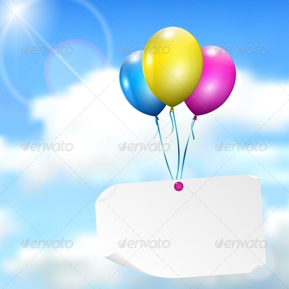 Multicolored Balloons With Paper Card - Backgrounds Decorative