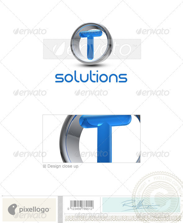 T Logo - 3D-288-T by pixellogo | GraphicRiver