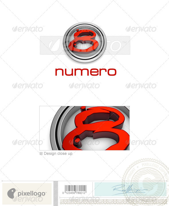 Numbers Logo - 3D-48 - Numbers Logo Templates
