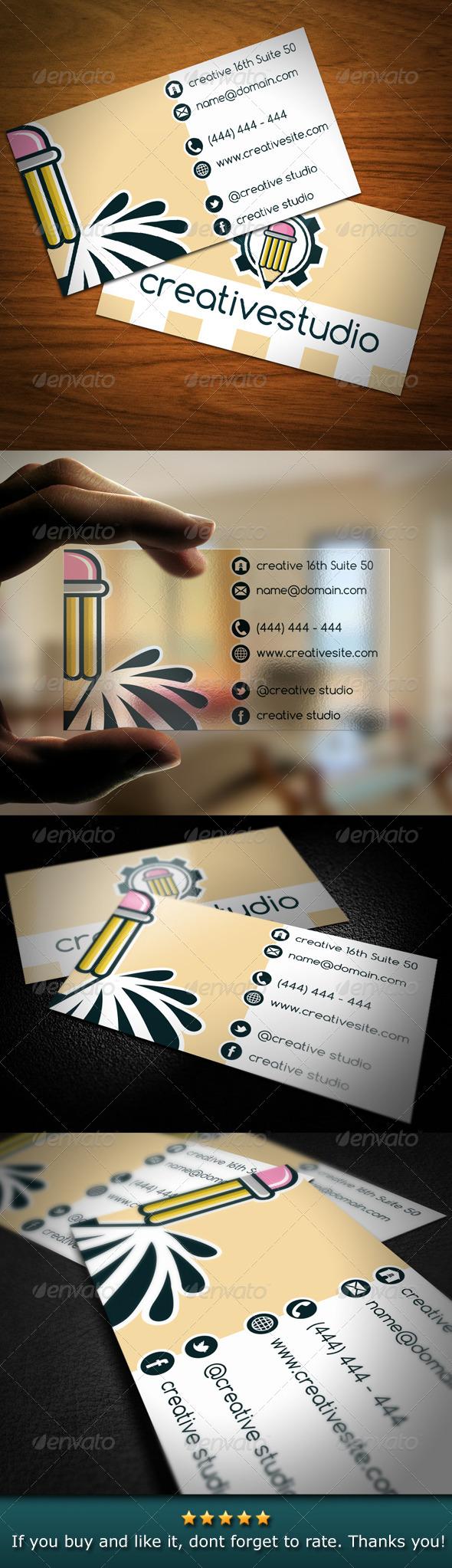 Creative Studio Pencil Business Card - Creative Business Cards