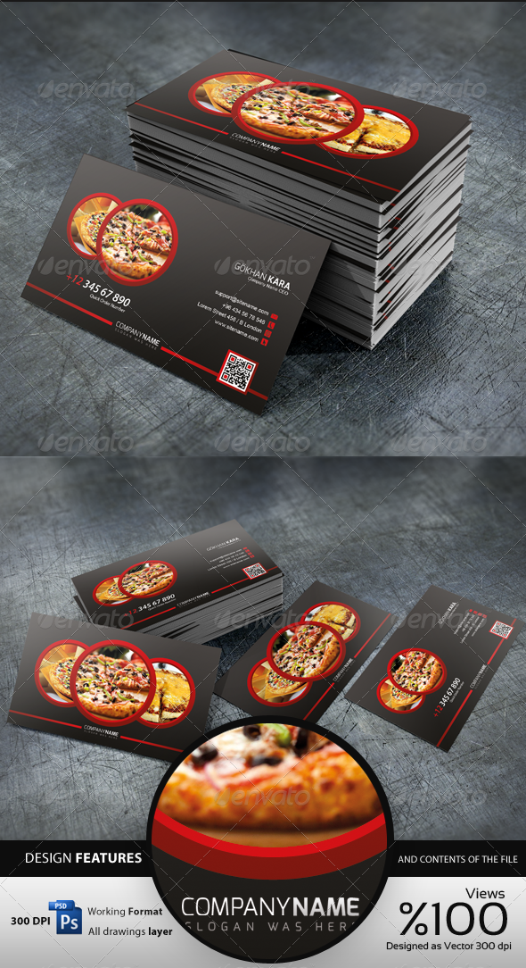 Pizza Time - Business Card by GokhanKara | GraphicRiver
