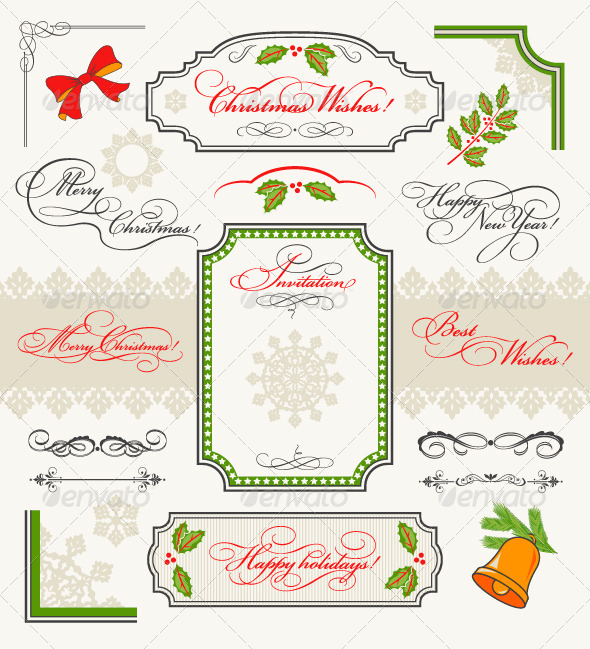 Christmas Collection Calligraphic Design Elements - Christmas Seasons/Holidays