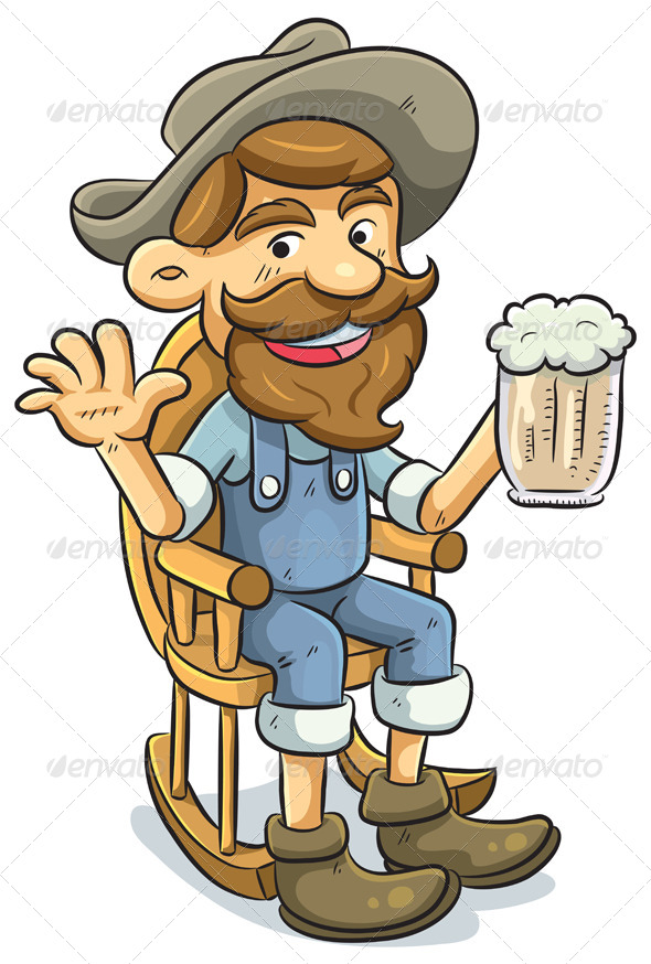 Old Man Drinking a Beer - People Characters