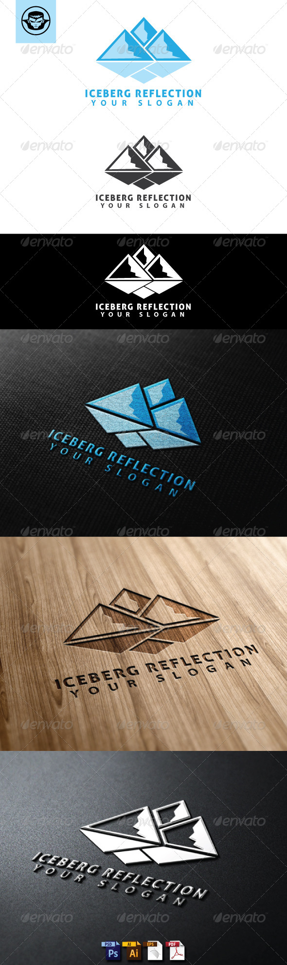Iceberg Reflection Logo Template - Nature Logo Templates