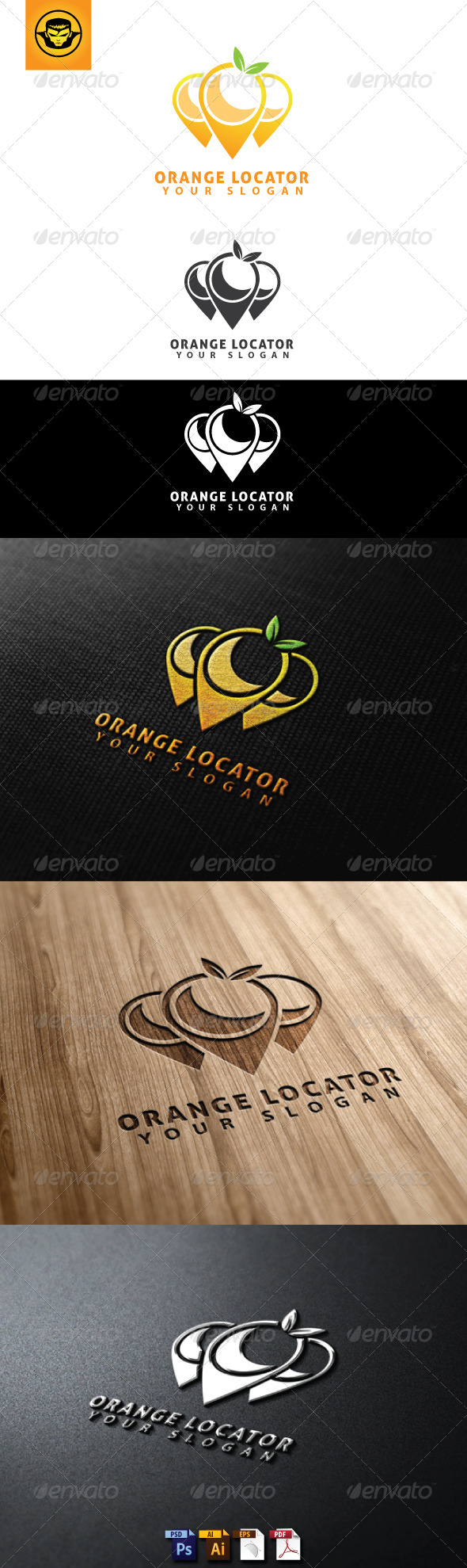 Orange Locator Logo Template - Food Logo Templates