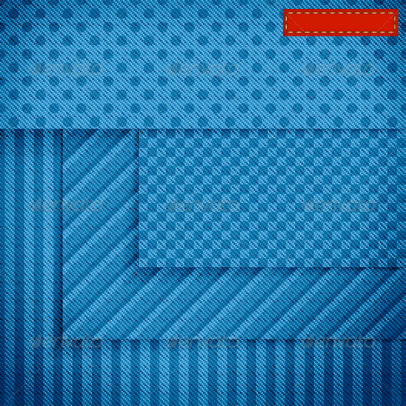 Blue Fabric Banners with Seamless Patterns   - Patterns Decorative