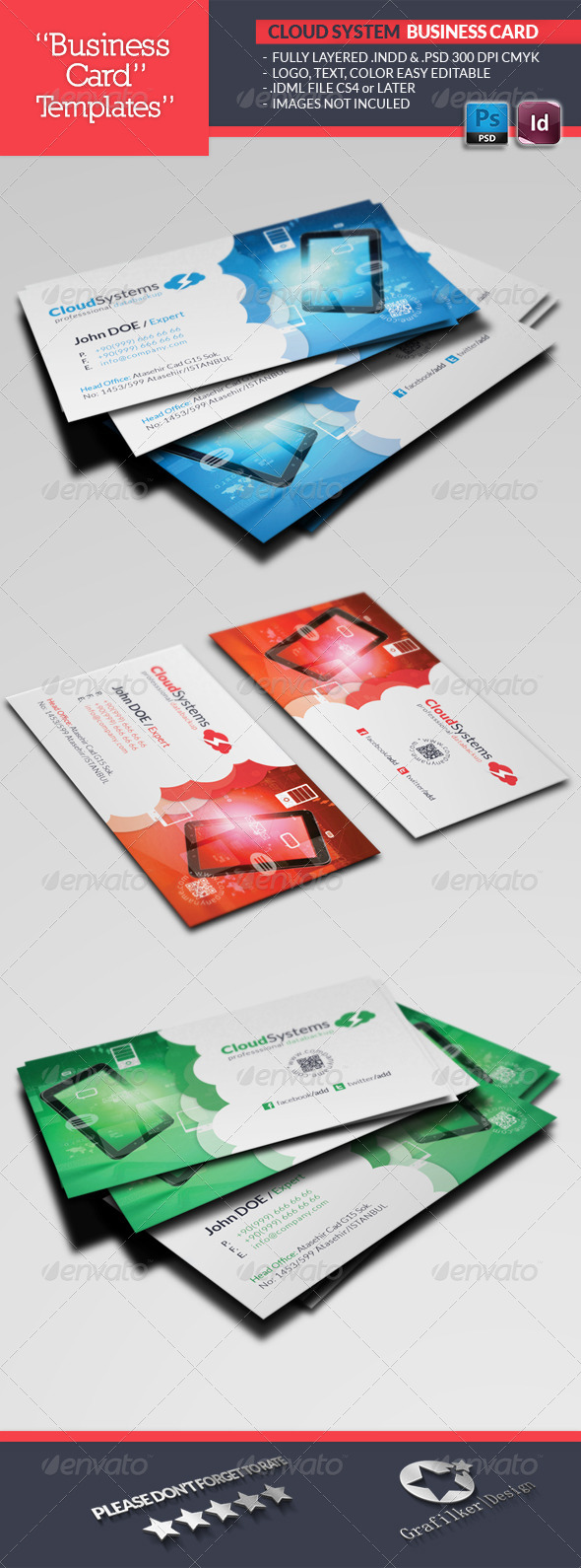 Cloud Systems Business Card Template - Industry Specific Business Cards