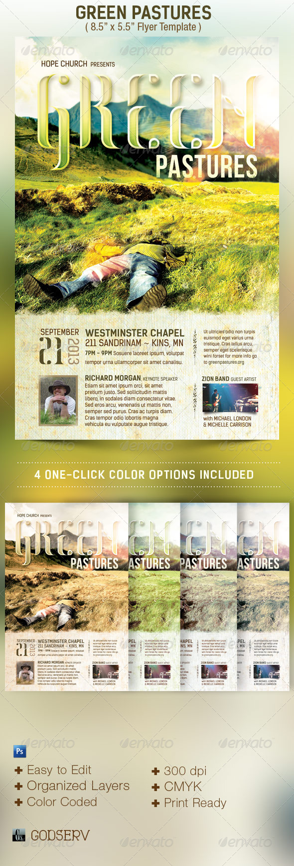 Green Pastures Church Flyer Template - Church Flyers