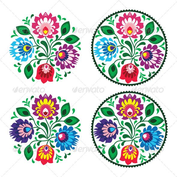 Ethnic Round Polish Embroidery with Flowers  - Flourishes / Swirls Decorative