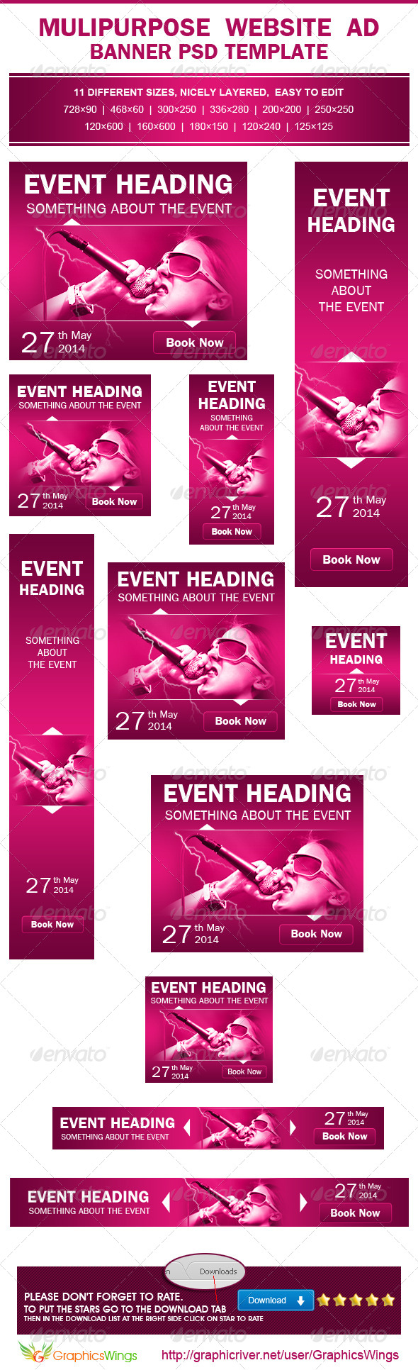 Multipurpose Event Promotion Ad PSD Template - Banners & Ads Web Elements