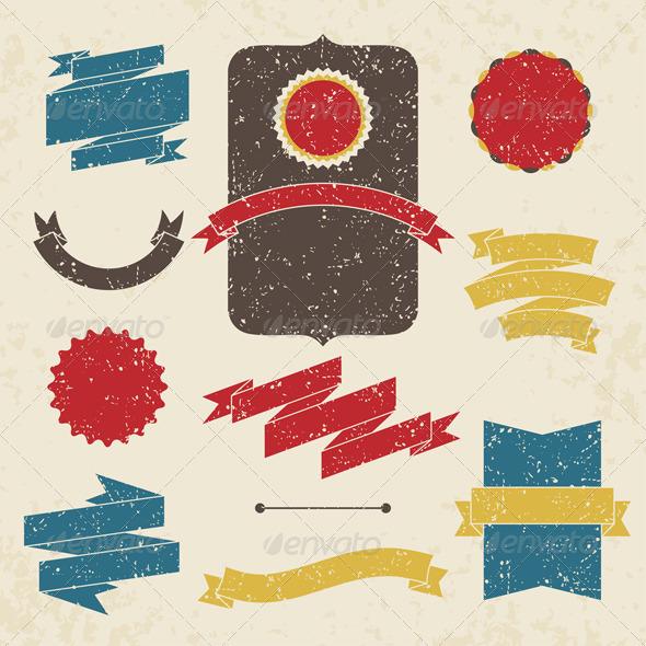 Set of labels and ribbons.  - Decorative Symbols Decorative