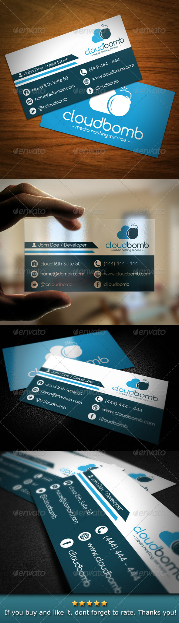Media Cloud Bomb Business Card - Creative Business Cards