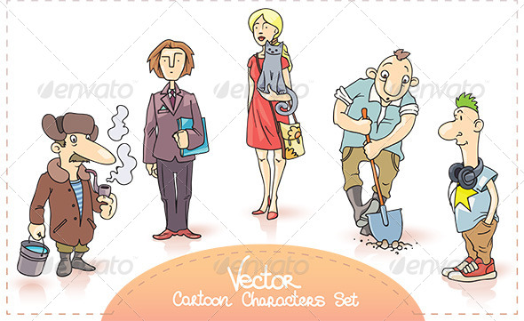 Vector Cartoon Characters Set - People Characters