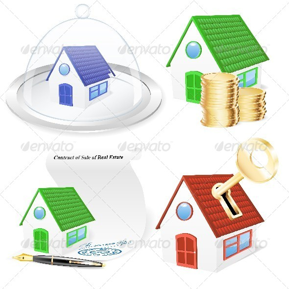 3D Real Estate Business Icon Set - Concepts Business