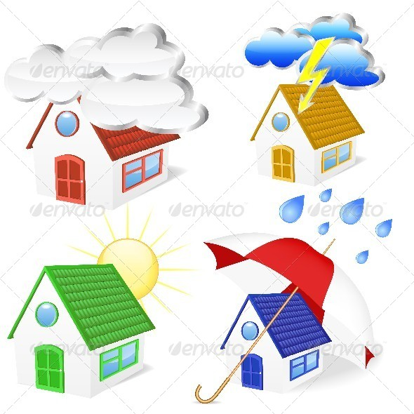 3D Houses with Weather Symbols Set - Buildings Objects
