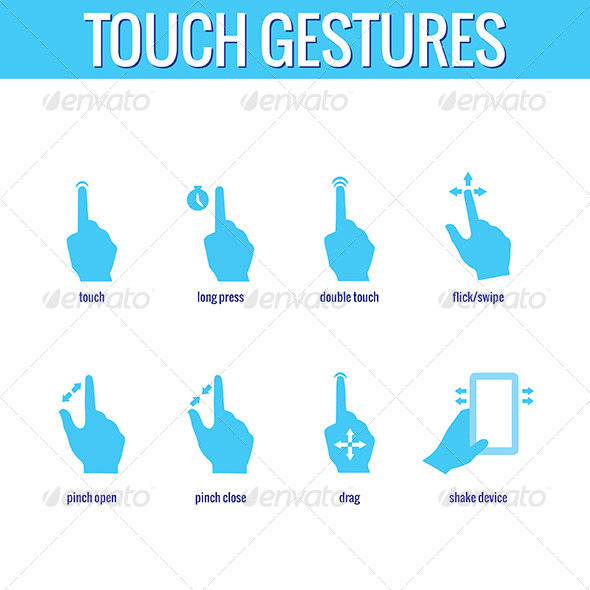 Touch Gesture Icons - Web Elements Vectors