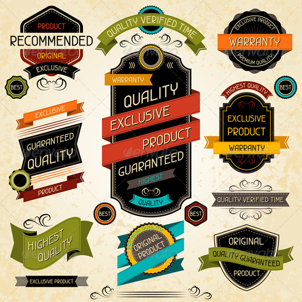 Set of Premium Quality Labels and Stickers. - Retail Commercial / Shopping