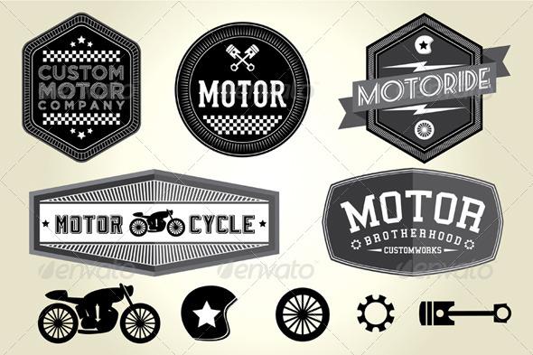 Vintage Motor Badges - Vectors