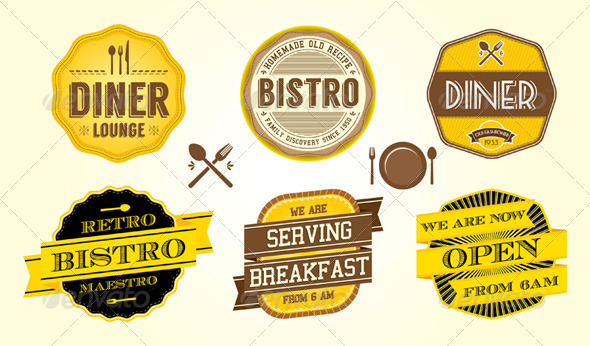 Vintage Diner Cafe Badges - Vectors