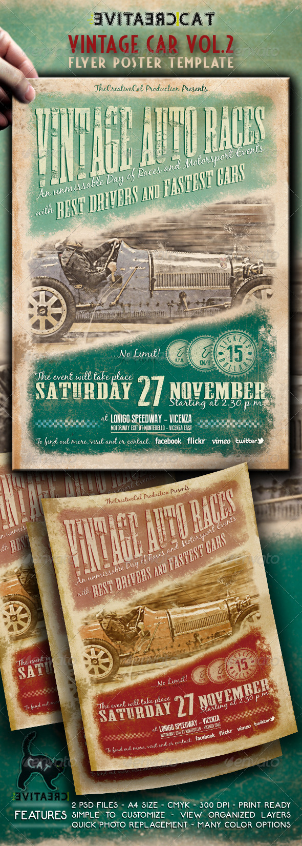 Vintage Car Flyer/Poster Vol.2 - Events Flyers