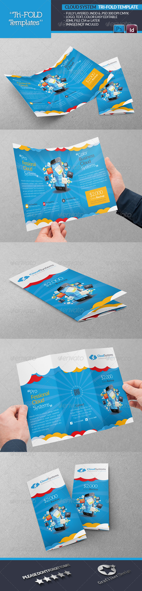 Cloud Systems Tri-Fold Template - Brochures Print Templates