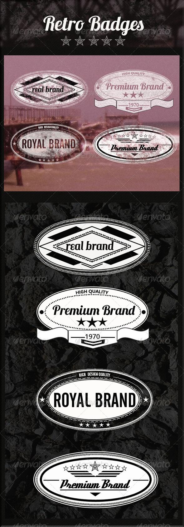 Retro Premium Badges - Badges & Stickers Web Elements
