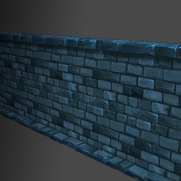 Low Poly Modular Dungeon Stone Wall Segment - 3DOcean Item for Sale