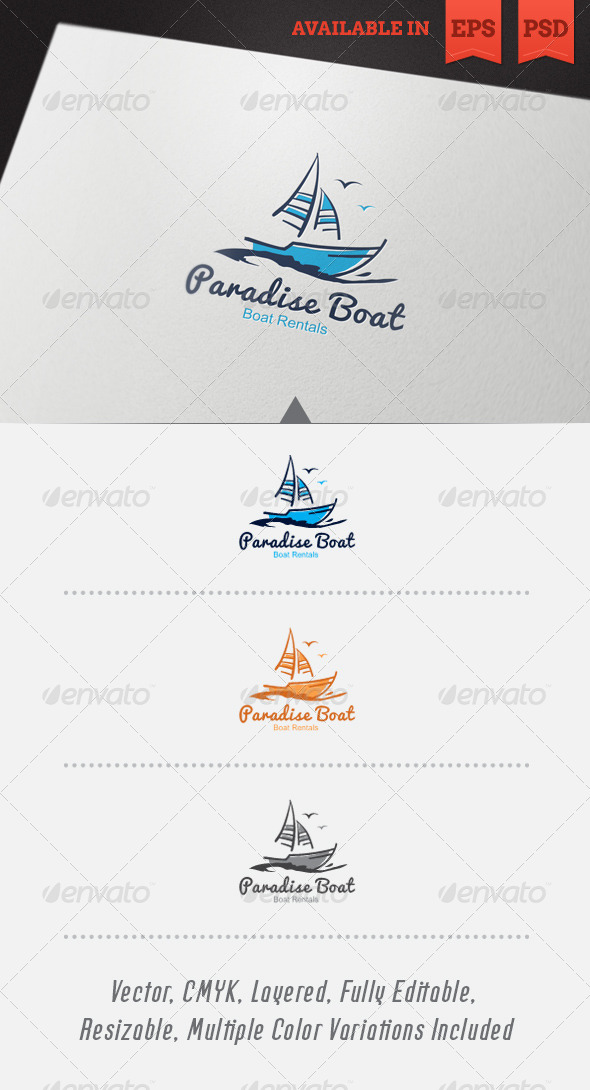 Paradise Boat Logo Template - Objects Logo Templates
