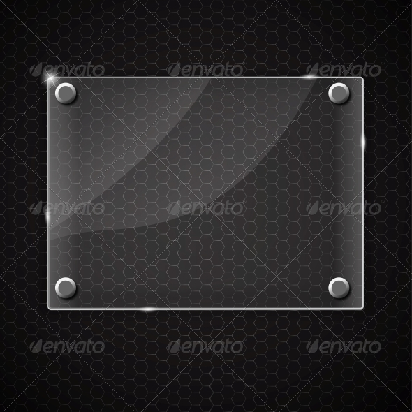 Glass Frame on Abstract Metal Background - Backgrounds Decorative