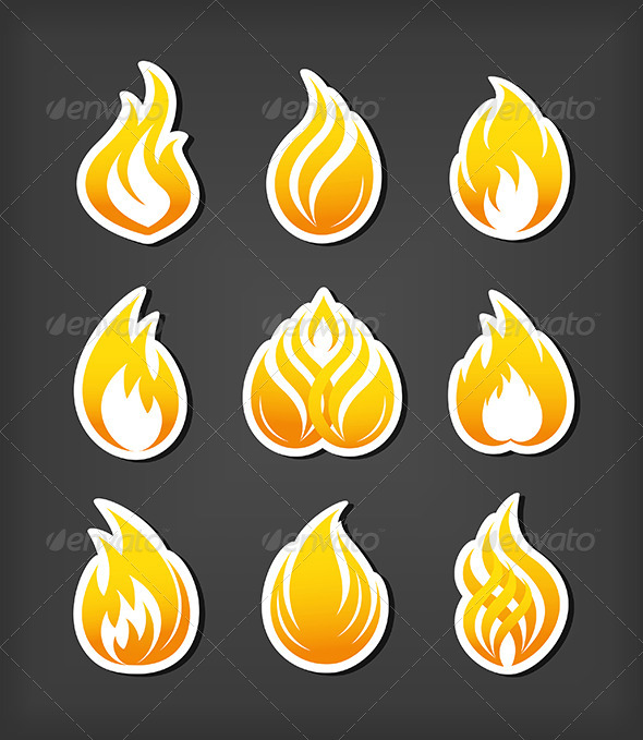 Fire Paper Cut Icons - Abstract Conceptual