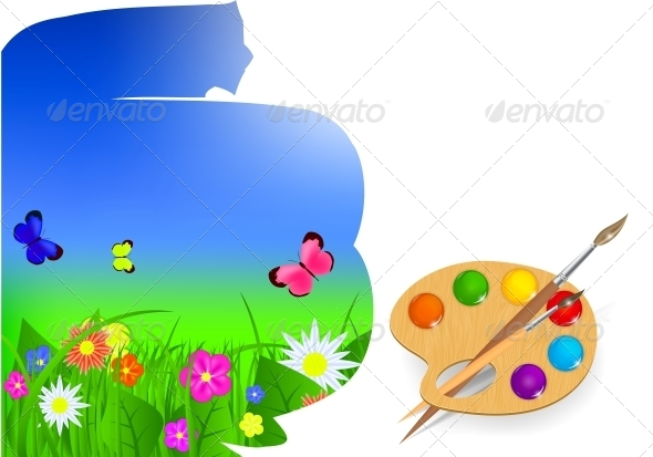 Brush and Sky Paint Vector Illustration - Seasons Nature