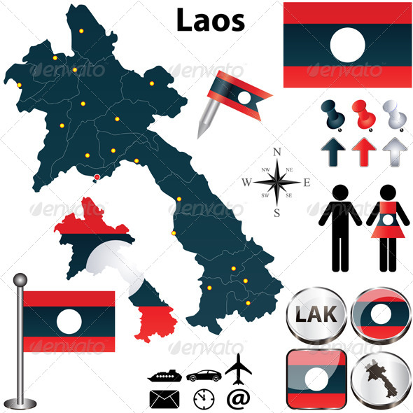 Map of Laos - Travel Conceptual