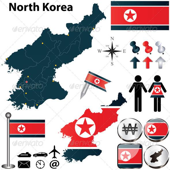 Map of North Korea - Travel Conceptual