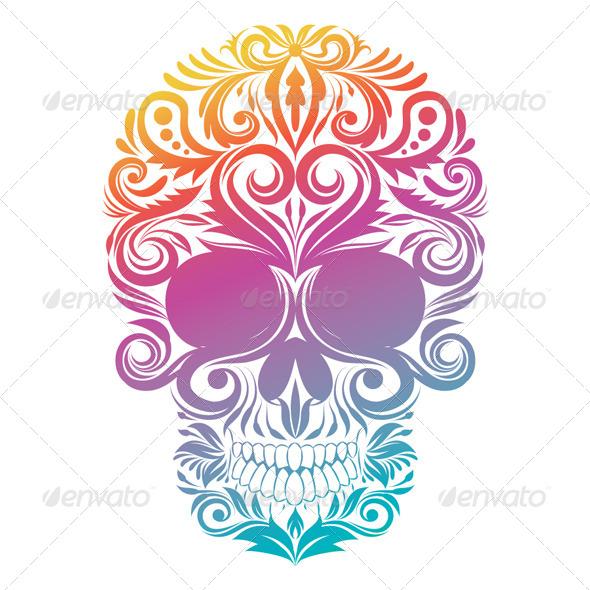 Floral Decorative Skull - Flourishes / Swirls Decorative