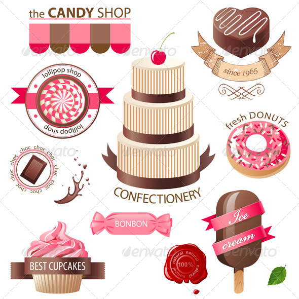 Sweets and Candies Emblems - Food Objects