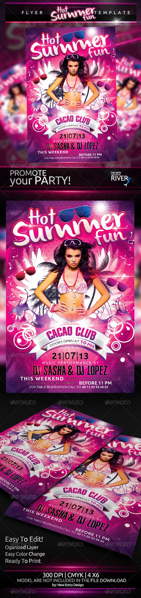 Hot Summer Fun Flyer Template - Clubs & Parties Events