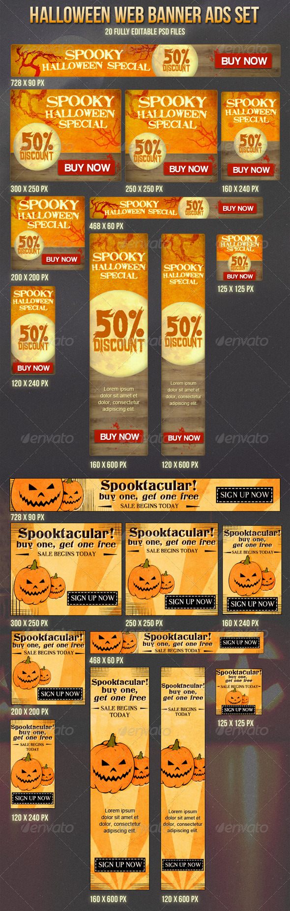 Halloween Banner Ads Set - Banners & Ads Web Elements