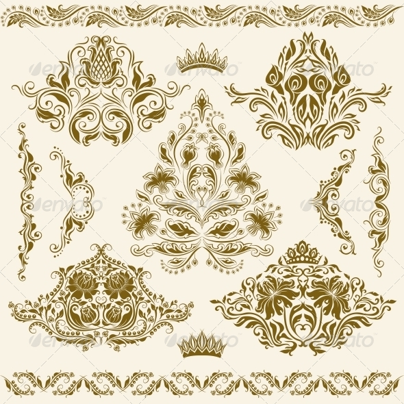 Set of Vector Damask Ornaments - Patterns Decorative